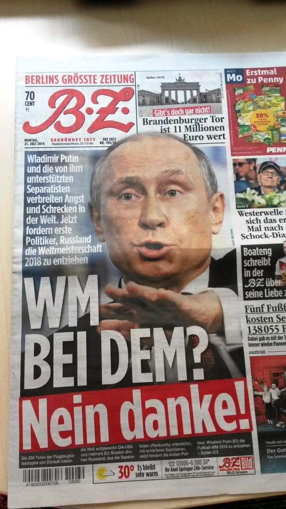 German paper: strip Russia of 2018 World Cup hosting because of MH17 downing