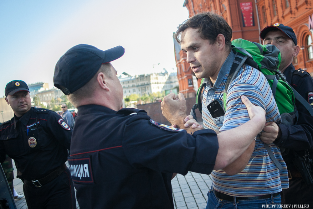 The only protester against war in Ukraine arrested in Moscow