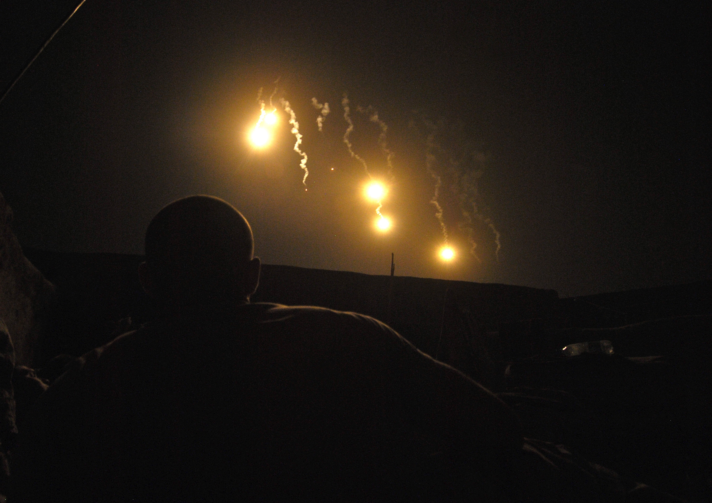 "With no TV, Ukrainian villagers watch ""fireworks"" in night sky"